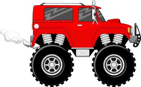큰 바퀴의 그림 흰색 배경에 고립 된 빨간색 monstertruck 만화 스톡 콘텐츠