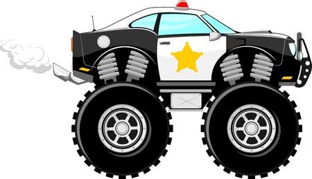 흰색 배경에 고립 monstertruck 경찰 자동차 4 × 4 만화