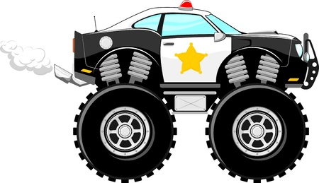 car tuning: monstertruck police car 4x4 cartoon isolated on white background