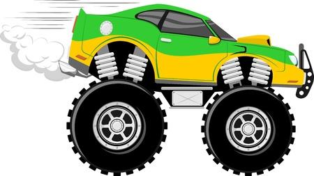 흰색 배경에 고립 된 monstertruck 경주 용 자동차 4x4 만화