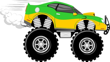 monstertruck race car 4x4 cartoon isolated on white background