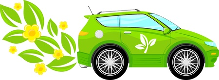 car leaf: concept illustration of green ecology car with flowers and leaves isolated on white background