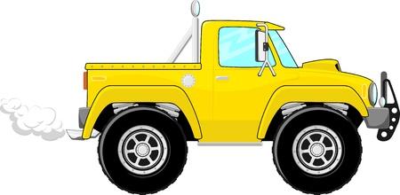黄色のピックアップ トラックの漫画の白い背景で隔離のイラスト