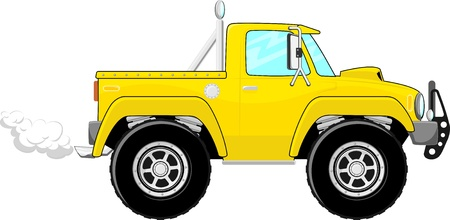 off road: illustration of yellow pickup truck cartoon isolated on white background