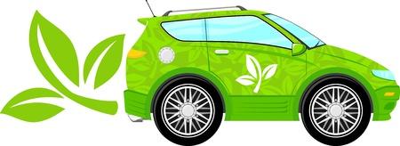 概念図と緑色のエコロジー車の葉に隔離されたホワイト バック グラウンド