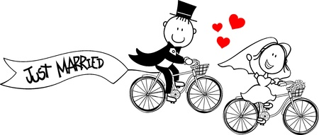 just married: bride and groom on bicycles isolated on white background
