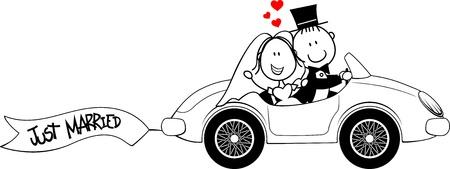 흰색 배경에 고립 된 차에 신부와 신랑
