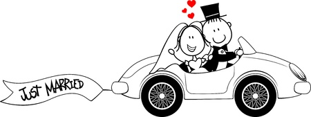 cartoon wedding couple: bride and groom on car isolated on white background Illustration