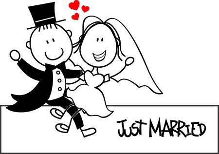 recien casados: nupcial pareja de dibujos animados aislado en el fondo blanco