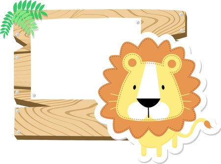 isolated: illustration of cute baby lion with wooden blank board isolated on white background Stock Photo