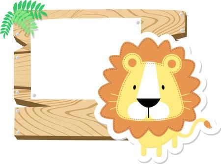 bebe a bordo: ilustraci�n de le�n lindo del beb� con la tarjeta en blanco de madera aislada en el fondo blanco Foto de archivo