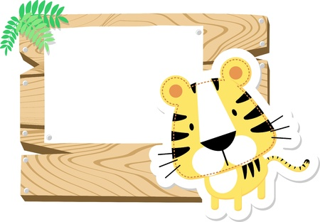 illustration of cute baby tiger with wooden blank board isolated on white background illustration