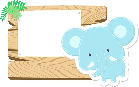 illustration of cute baby elephant with wooden blank board isolated on white background Stock Illustration - 20660298