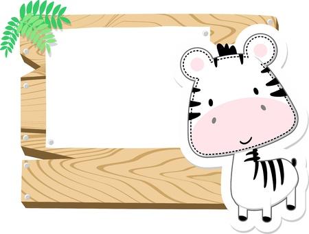 illustratie van schattige baby zebra met houten leeg bord op een witte achtergrond Stockfoto