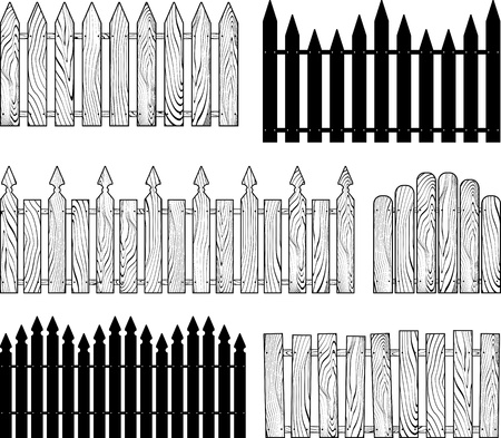 wooden b w fences silhouettes  Vector