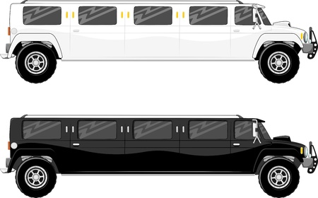 limousine: illustration of two vip limo truck isolated on white background Stock Photo