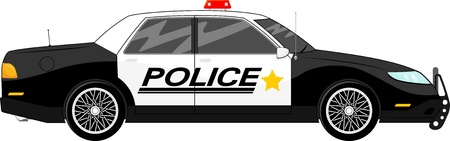 police car: illustration of police car side view isolated on white background