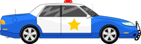 patrol officer: illustration of generic blue police car side view isolated on white background