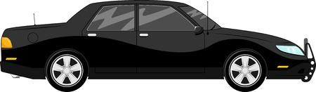illustration of black bodyguard car isolated on white background