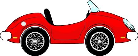 흰색 배경에 고립 된 재미있는 빨간색 컨버터블 자동차 만화