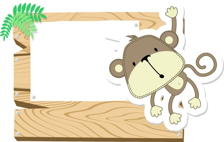 cute baby monkey with blank signboard isolated photo
