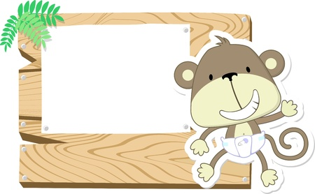 illustration of cute baby monkey with wooden blank board isolated on white background Фото со стока
