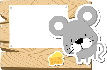 illustration of cute mousy with wooden blank board isolated on white background illustration