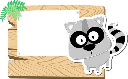 racoon: illustration of cute raccoon with wooden blank board isolated on white background