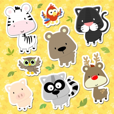 racoon: set of cute baby animals looks like stickers on seamless tracks background