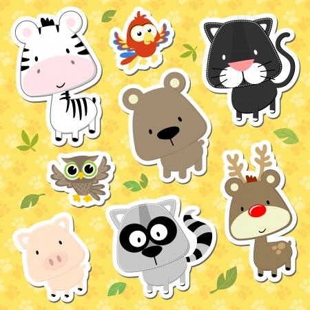 art owl: set of cute baby animals looks like stickers on seamless tracks background