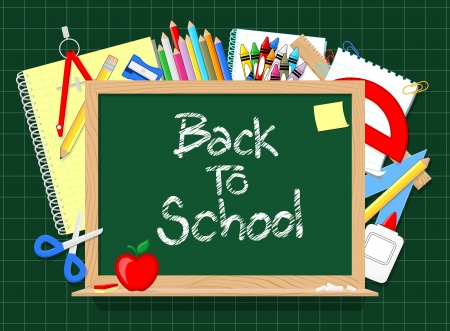 school things: blackboard and school education supplies items background, in vector format very easy to edit, individual objects, only solid colors, no gradients