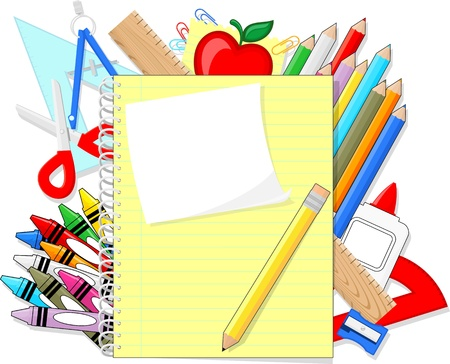 school education supplies items and note book isolated on white background, individual objects, only solid colors, no gradients