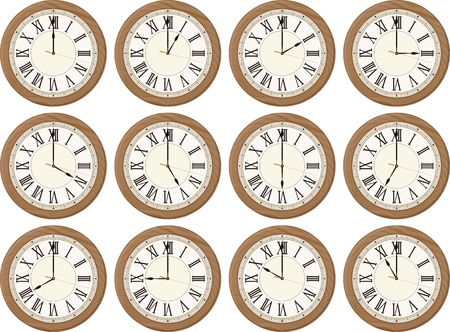 timekeeper: clocks isolated on white background each showing a different time  Stock Photo