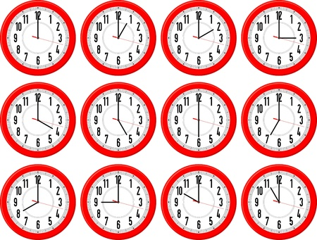 7 9: red clocks isolated on white background each showing a different hour