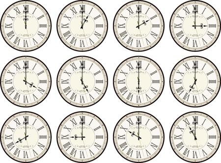흰색 배경에 각각 다른 시간을 보여주는에 고립 된 빈티지 시계