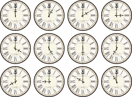 vintage clocks isolated on white background each showing a different time