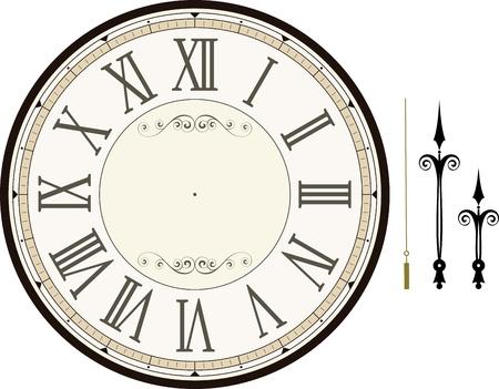 시간, 분, 자신의 시간이 흰색 배경에 고립 만드는 두 번째 손으로 빈티지 시계 얼굴 템플릿 스톡 콘텐츠