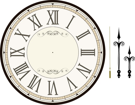 vintage clock face template with hour, minute and second hands to make your own time isolated on white background