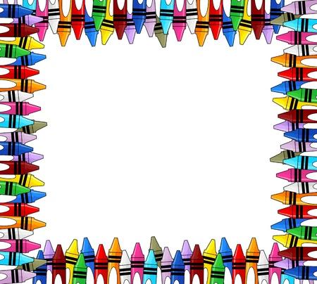 크레용 복사 공간 흰색 배경에 프레임을 여러 가지 빛깔