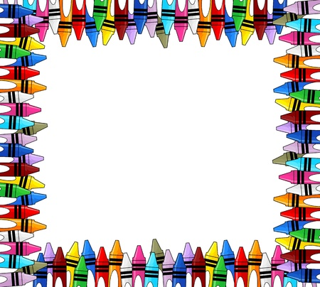 school border: crayons multicolored frame with white background for copy space Stock Photo
