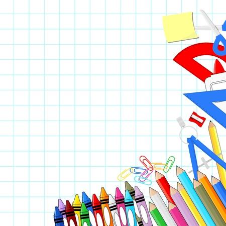 escuelas: fuentes de escuela en el fondo blanco papel cuadriculado, objetos individuales