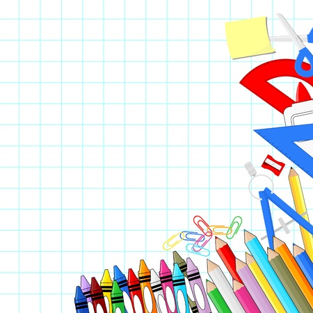 school supplies on white grid paper background, individual objects