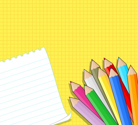 colored pencils: colored pencils and blank note on yellow grid background
