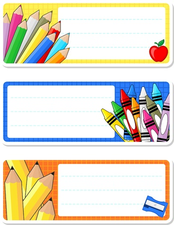 school notebook labels isolated on white background Vectores