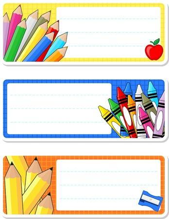 schoolnotitieboekje etiketten op een witte achtergrond Stock Illustratie