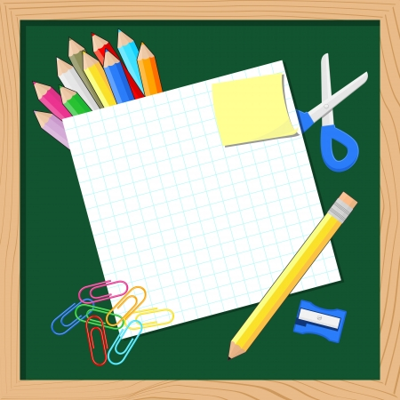 school supplies and blank paper for copy space on blackboard background