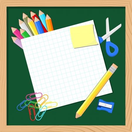 schoolbenodigdheden en blanco papier voor kopie ruimte op blackboard achtergrond Stockfoto