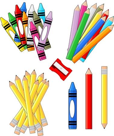 colored pencils: school supplies groups clip art isolated on white background, individual objects