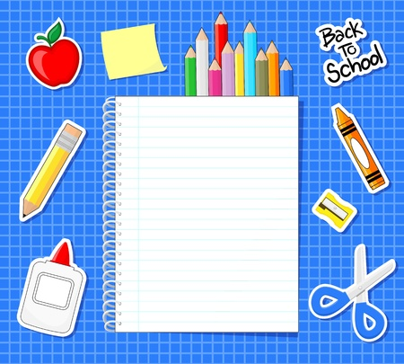 grid paper: school supplies stickers and blank notebook on blue grid background