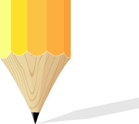 sharpened yellow pencil tip on white background with copy space Vector
